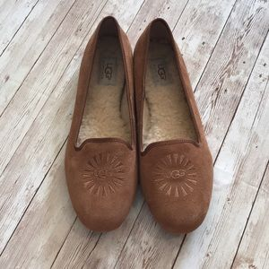 UGG Tan Suede Flats with Fur Lining